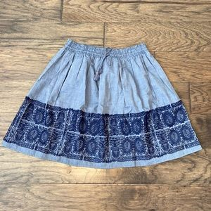 Medium J.Crew Chambray Embroidered Zafrina Skirt